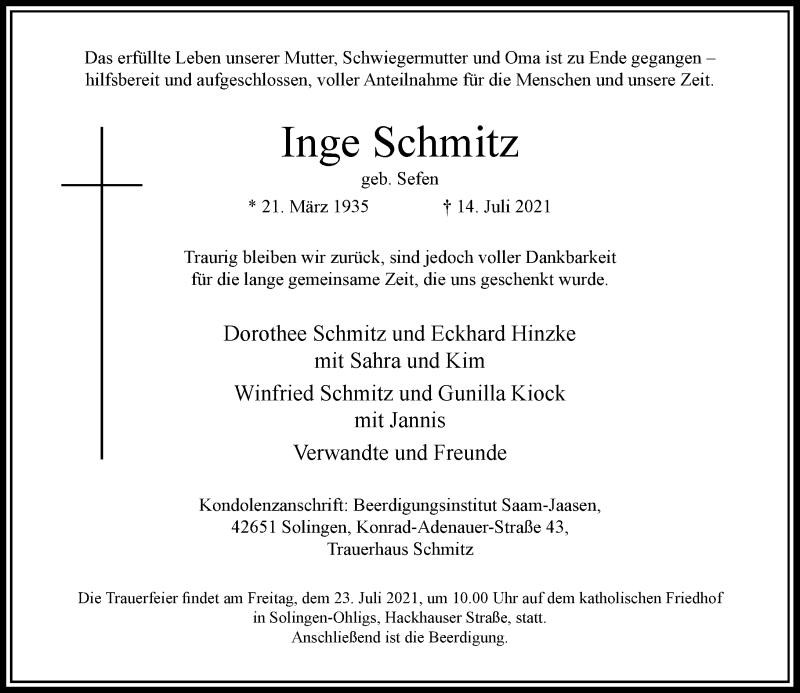 Traueranzeige für Inge Schmitz vom 21.07.2021 aus Rheinische Post