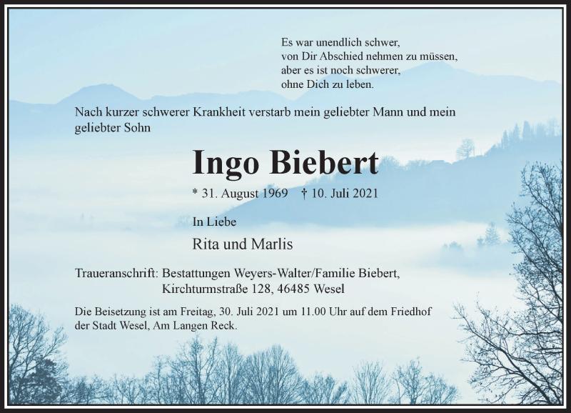 Traueranzeige für Ingo Biebert vom 24.07.2021 aus Rheinische Post