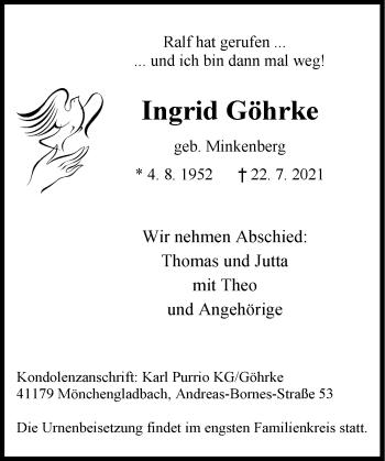 Traueranzeige von Ingrid Göhrke von Rheinische Post