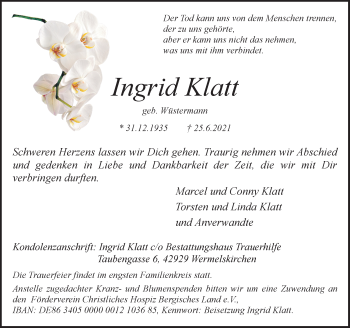 Traueranzeige von Ingrid Klatt von Rheinische Post