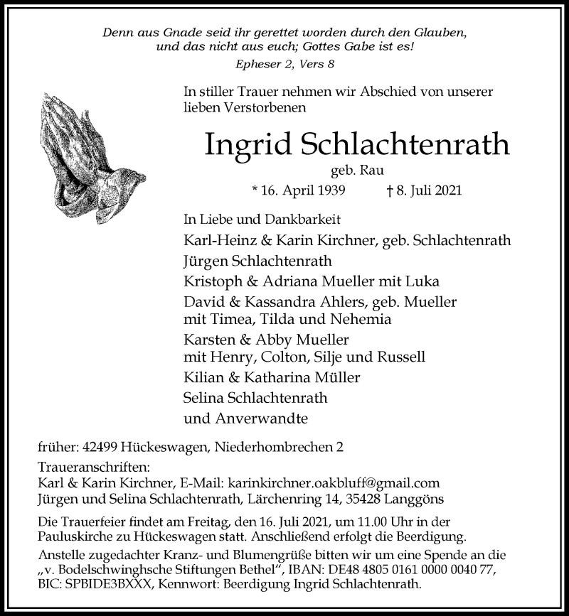 Traueranzeige für Ingrid Schlachtenrath vom 14.07.2021 aus Rheinische Post