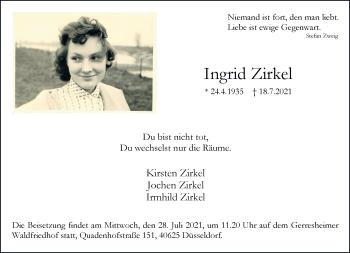 Traueranzeige von Ingrid Zirkel von Rheinische Post
