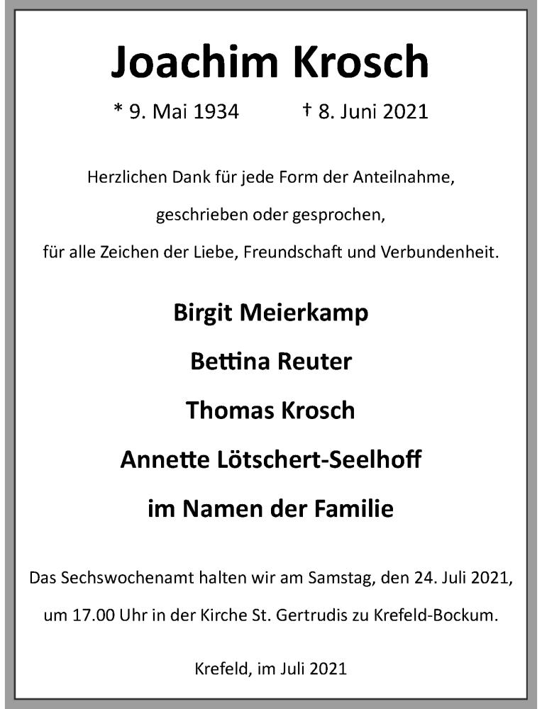 Traueranzeige für Joachim Krosch vom 17.07.2021 aus Rheinische Post
