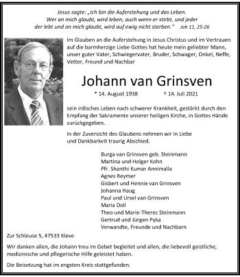 Traueranzeige von Johann van Grinsven von Rheinische Post