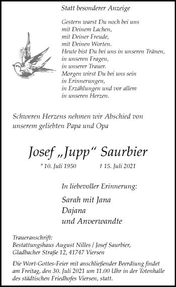 Traueranzeige von Josef  Saurbier von Rheinische Post