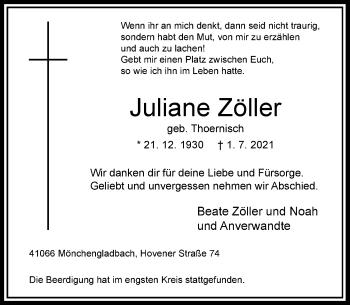 Traueranzeige von Juliane Zöller von Rheinische Post