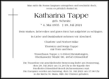 Traueranzeige von Katharina Tappe von Rheinische Post