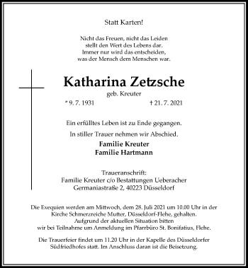 Traueranzeige von Katharina Zetzsche von Rheinische Post