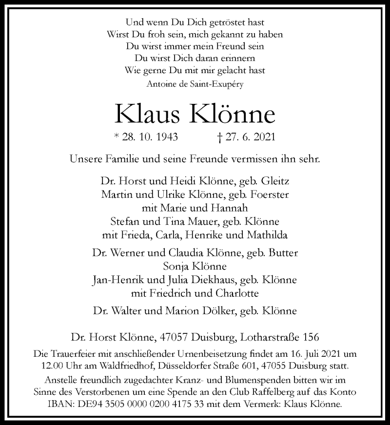 Traueranzeige für Klaus Klönne vom 14.07.2021 aus Rheinische Post