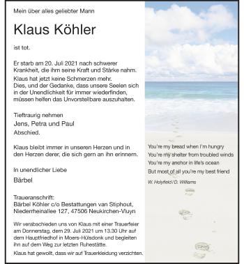 Traueranzeige von Klaus Köhler von Rheinische Post