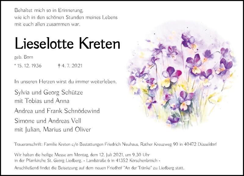 Traueranzeige für Lieselotte Kreten vom 10.07.2021 aus Rheinische Post