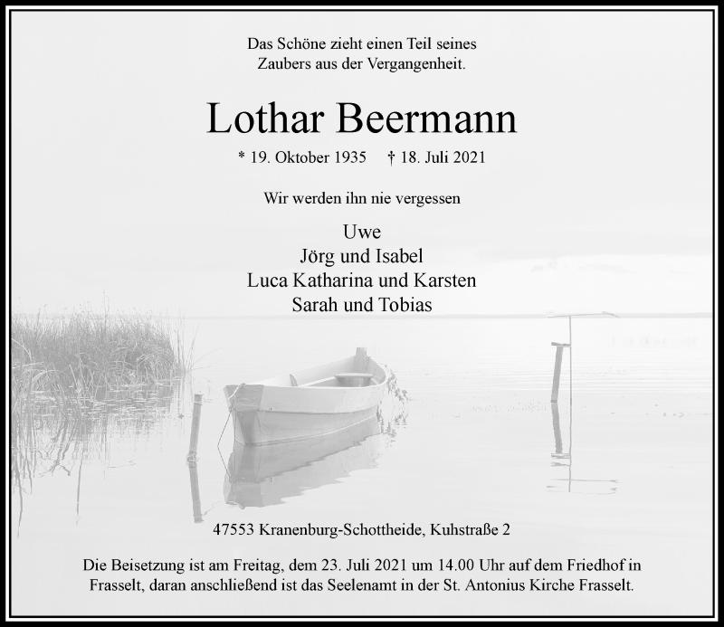 Traueranzeige für Lothar Beermann vom 21.07.2021 aus Rheinische Post