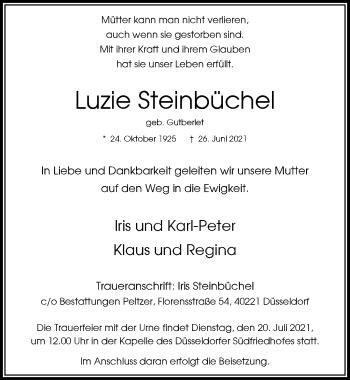 Traueranzeige von Luzie Steinbüchel von Rheinische Post
