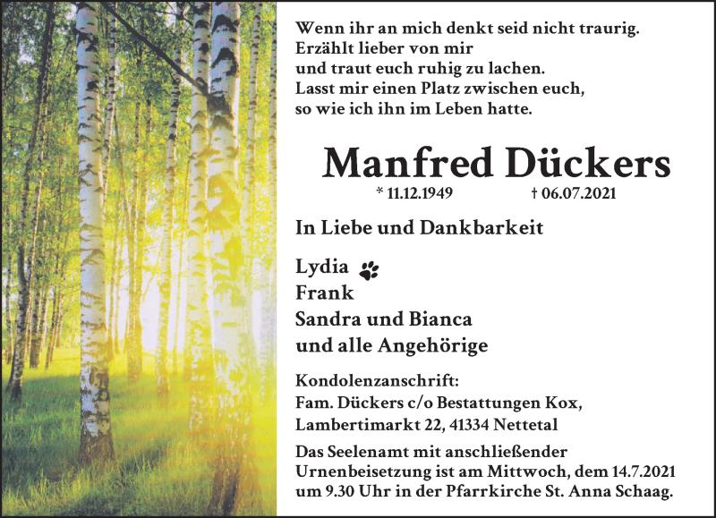 Traueranzeige für Manfred Dückers vom 10.07.2021 aus Rheinische Post