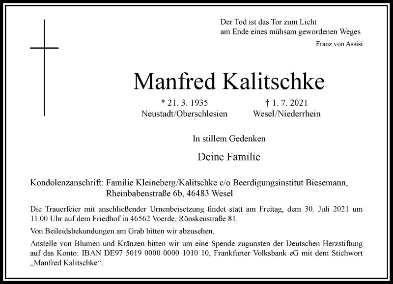 Traueranzeige für Manfred Kalitschke vom 24.07.2021 aus Rheinische Post