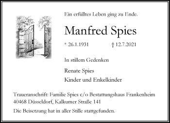Traueranzeige von Manfred Spies von Rheinische Post
