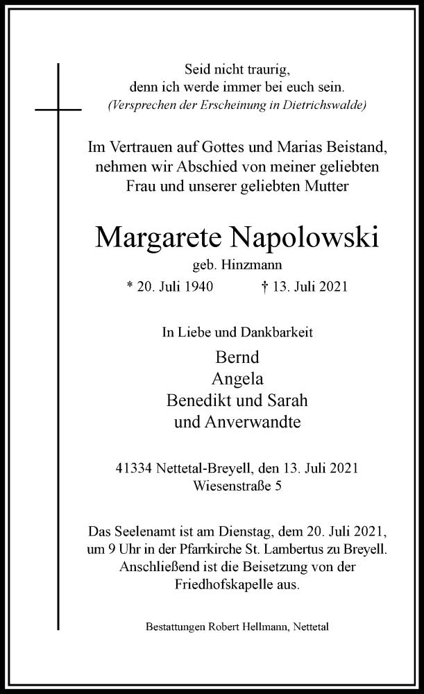 Traueranzeige für Margarete Napolowski vom 17.07.2021 aus Rheinische Post