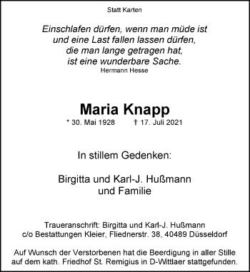 Traueranzeige von Maria Knapp von Rheinische Post