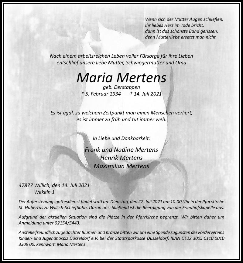Traueranzeige für Maria Mertens vom 21.07.2021 aus Rheinische Post
