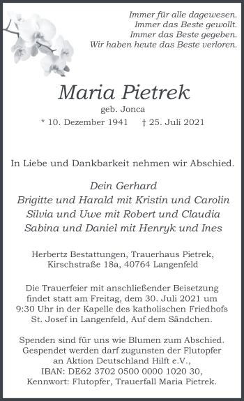 Traueranzeige von Maria Pietrek von Rheinische Post
