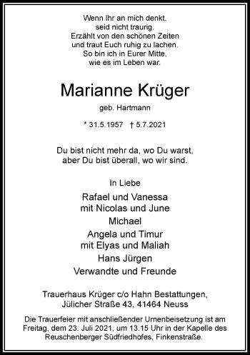 Traueranzeige von Marianne Krüger von Rheinische Post