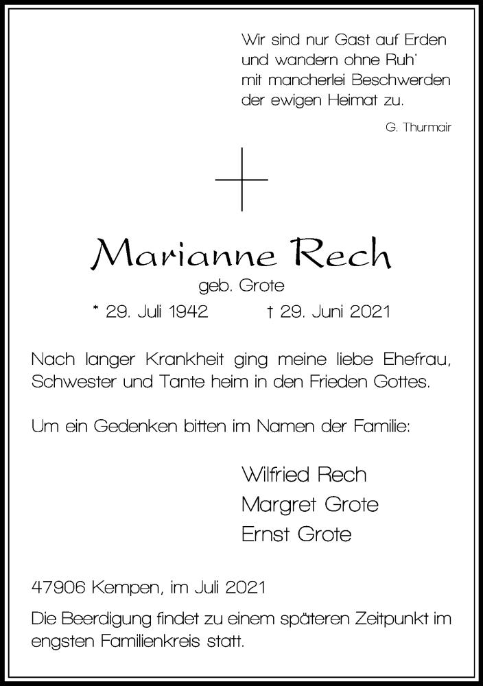 Traueranzeige für Marianne Rech vom 10.07.2021 aus Rheinische Post