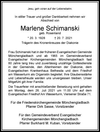 Traueranzeige von Marlene Schimanski von Rheinische Post