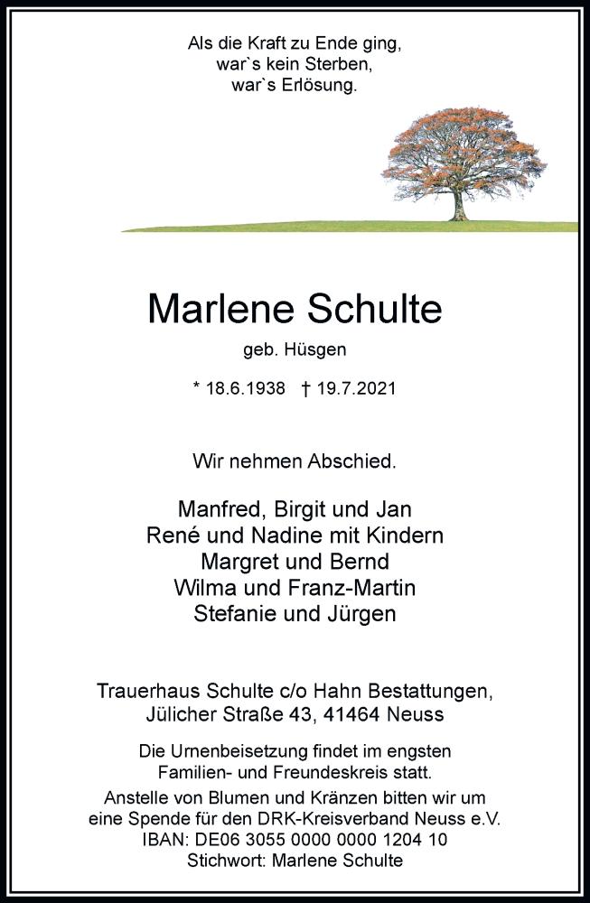 Traueranzeige für Marlene Schulte vom 24.07.2021 aus Rheinische Post