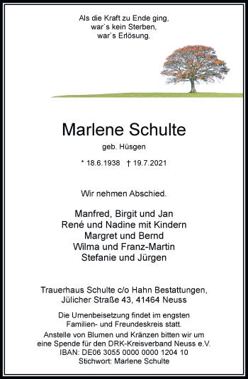 Traueranzeige von Marlene Schulte von Rheinische Post