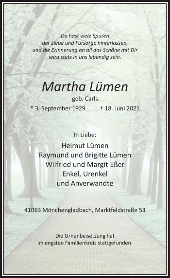 Traueranzeige von Martha Lümen von Rheinische Post