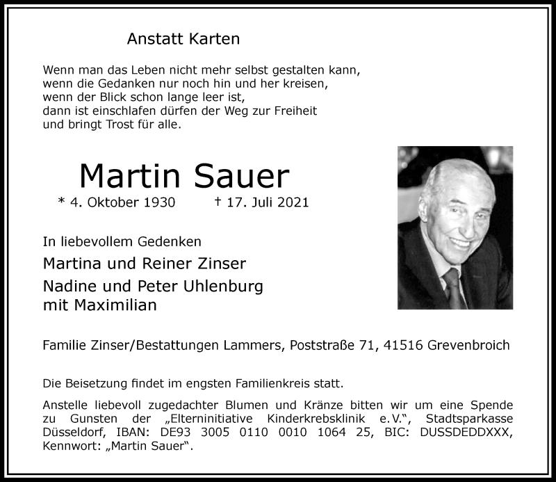 Traueranzeige für Martin Sauer vom 24.07.2021 aus Rheinische Post