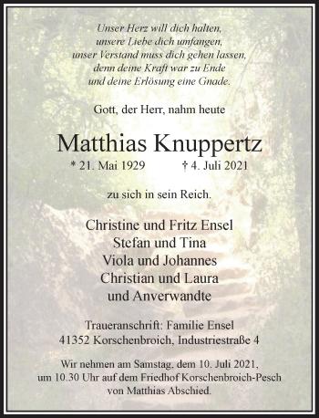 Traueranzeige von Matthias Knuppertz von Rheinische Post