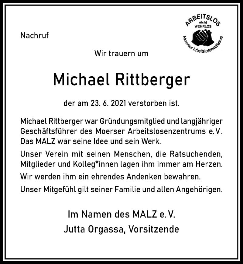 Traueranzeige für Michael Rittberger vom 17.07.2021 aus Rheinische Post