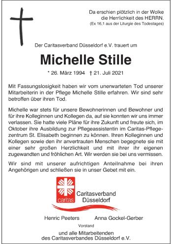 Traueranzeige von Michelle Stille von Rheinische Post