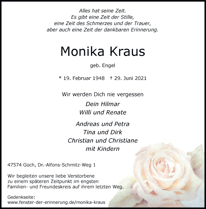 Traueranzeige für Monika Kraus vom 02.07.2021 aus Rheinische Post
