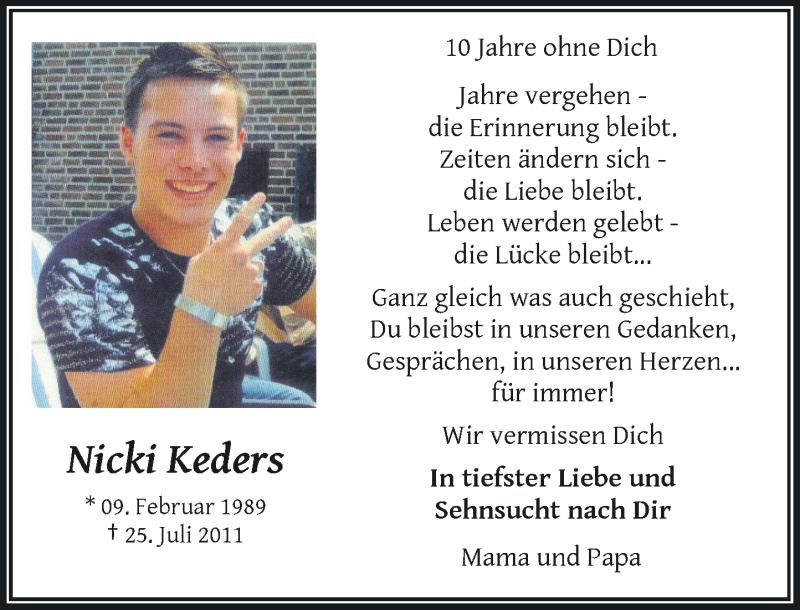 Traueranzeige für Nicki Keders vom 24.07.2021 aus Rheinische Post