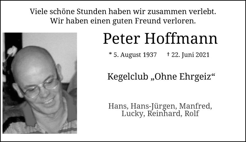 Traueranzeige für Peter Hoffmann vom 17.07.2021 aus Rheinische Post