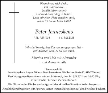Traueranzeige von Peter Jenneskens von Rheinische Post