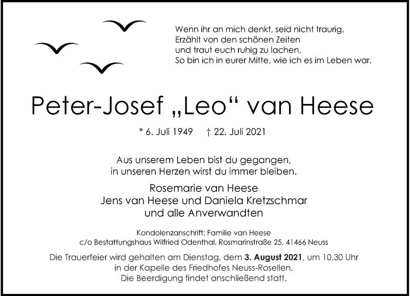 Traueranzeige für Peter-Josef van Heese vom 24.07.2021 aus Rheinische Post