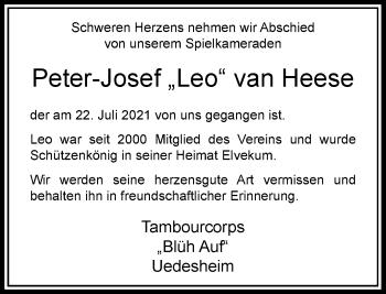 Traueranzeige von Peter-Josef van Heese von Rheinische Post
