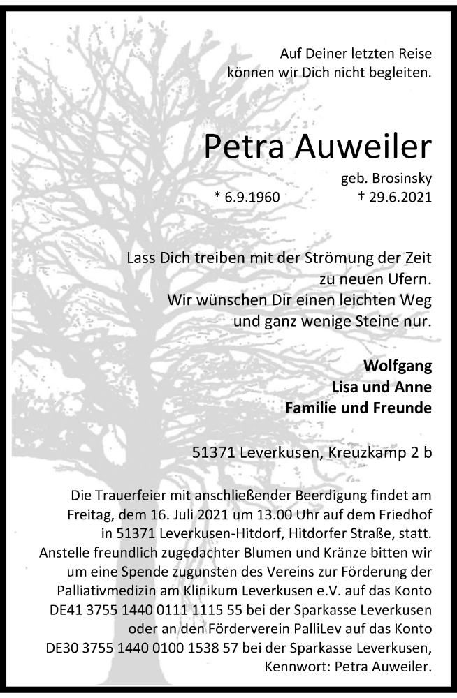 Traueranzeige für Petra Auweiler vom 10.07.2021 aus Rheinische Post