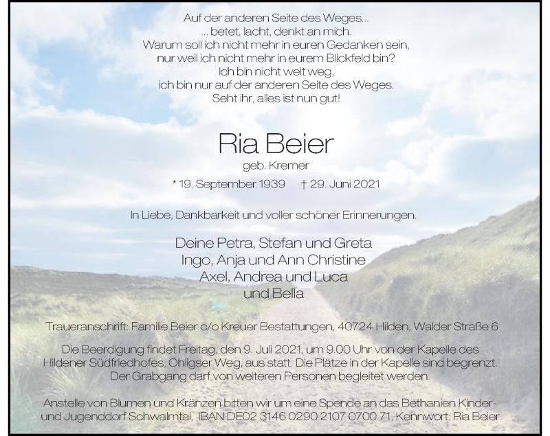 Traueranzeige für Ria Beier vom 03.07.2021 aus Rheinische Post