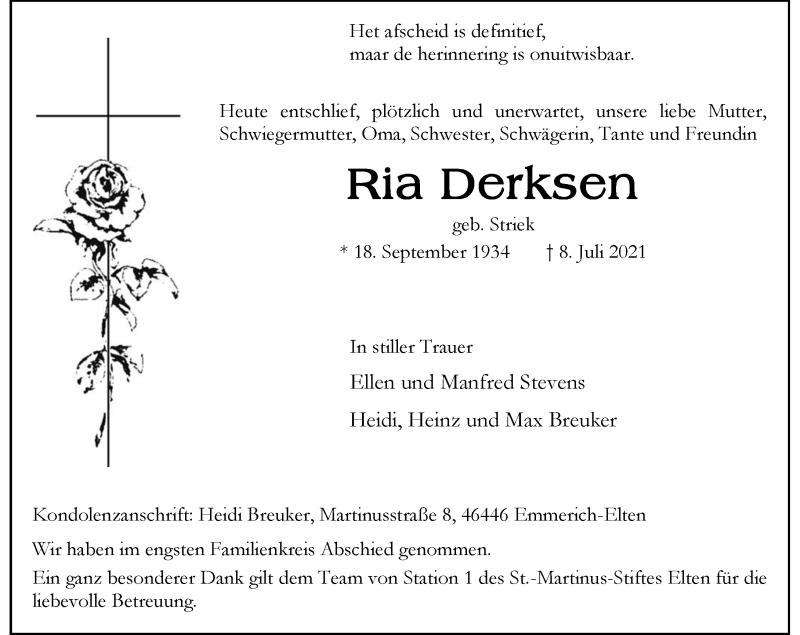 Traueranzeige für Ria Derksen vom 17.07.2021 aus Rheinische Post