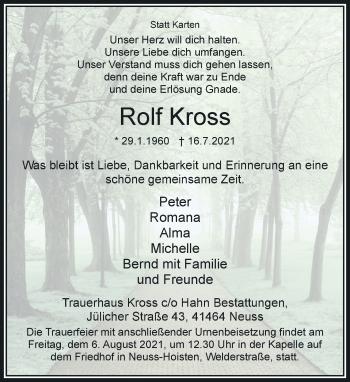 Traueranzeige von Rolf Kross von Rheinische Post