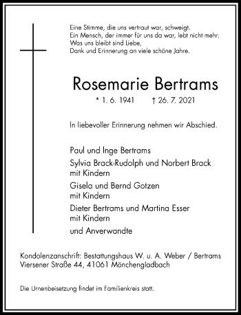 Traueranzeige von Rosemarie Bertrams von Rheinische Post