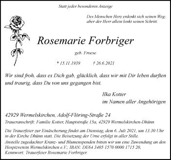 Traueranzeige von Rosemarie Forbriger von Rheinische Post