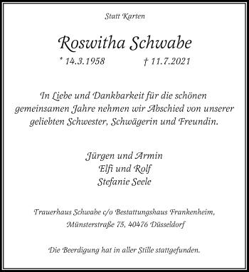 Traueranzeige von Roswitha Schwabe von Rheinische Post