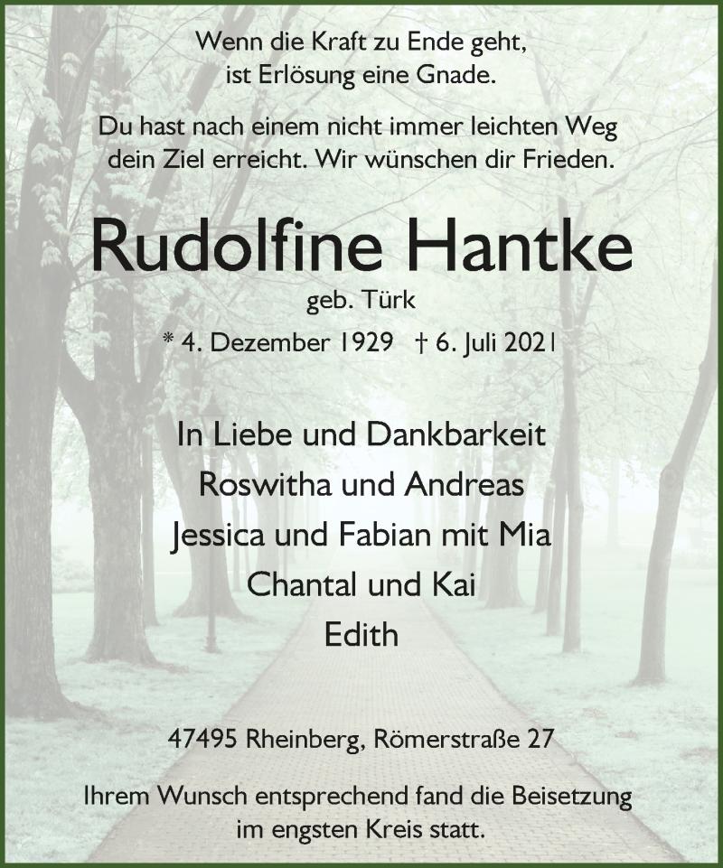 Traueranzeige für Rudolfine Hantke vom 21.07.2021 aus Rheinische Post