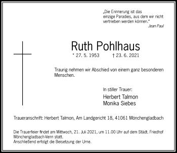 Traueranzeige von Ruth Pohlhaus von Rheinische Post
