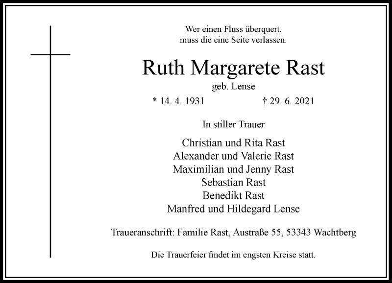 Traueranzeige für Ruth Margarete Rast vom 03.07.2021 aus Rheinische Post
